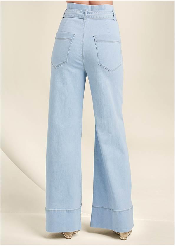 Back View Flare Leg High Waist Jeans