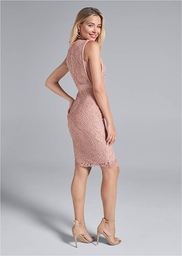 Full back view Lace V-Neck Bandage Dress
