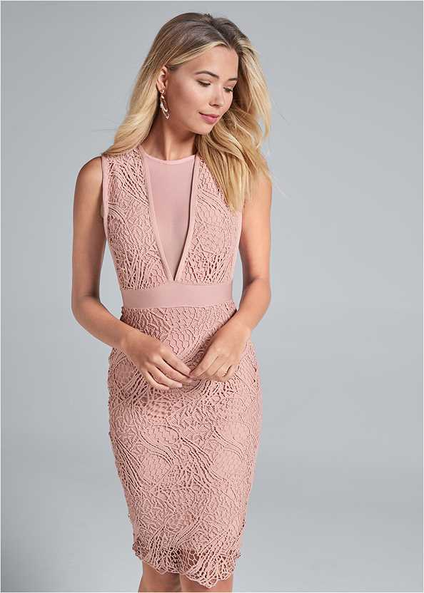 Lace V-Neck Bandage Dress,High Heel Strappy Sandals,Beaded Hoop Earrings