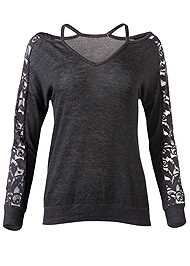 Alternate View Lace Sleeve Sweatshirt