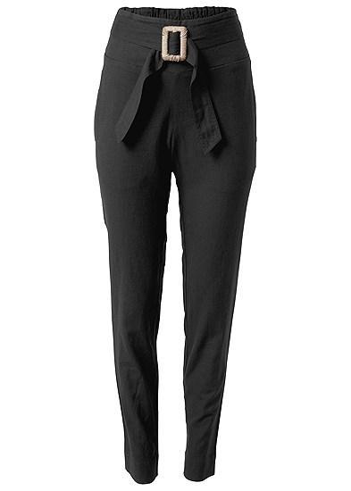 Plus Size Belted Linen Pants