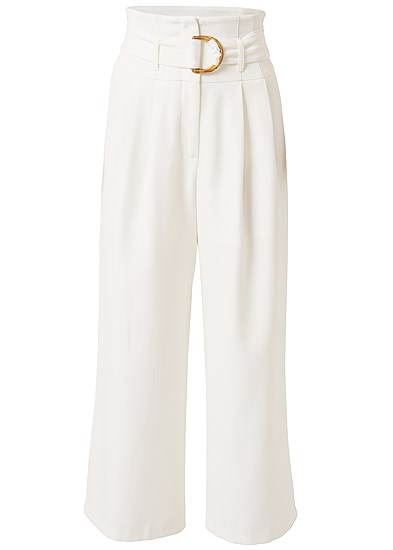 Plus Size Belted High Waist Culotte Length Pants