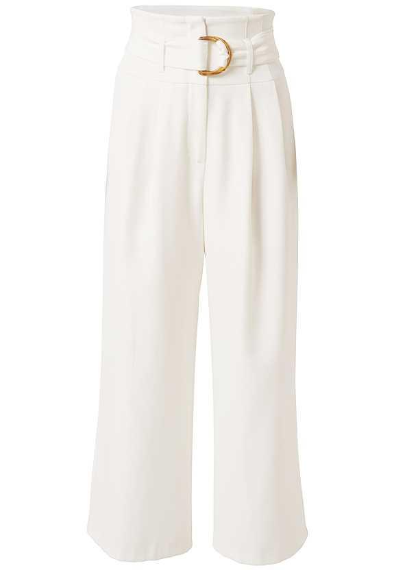 Belted High Waist Culotte Length Pants,Easy Halter Top,Printed Ruched Top,High Heel Strappy Sandals,Multi Strap Block Heel,Beaded Hoop Earrings,Shell Earrings