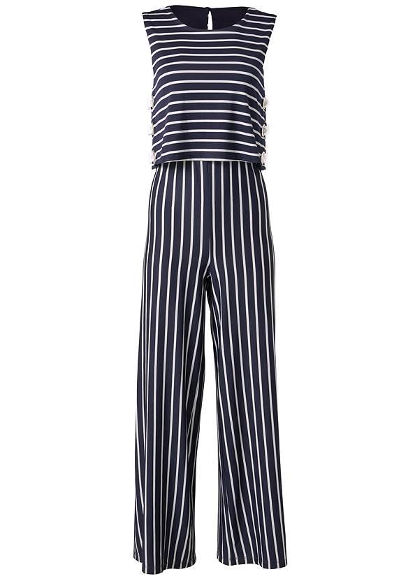 Alternate View Striped Grommet Jumpsuit