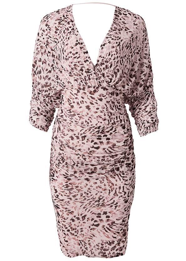Alternate View Mesh Ruched Animal Dress