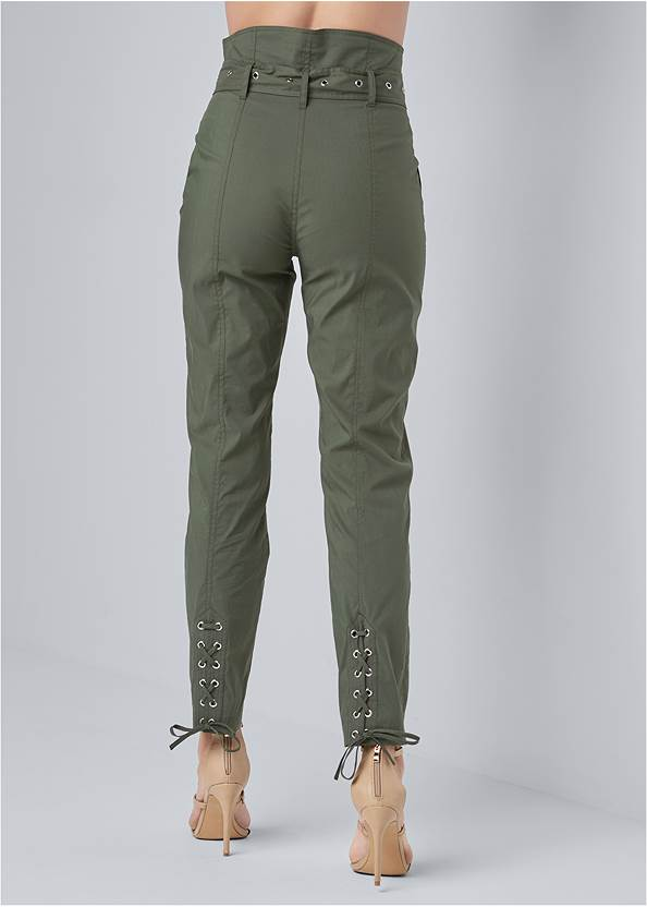 Waist down back view Belted High Waist Utility Pants