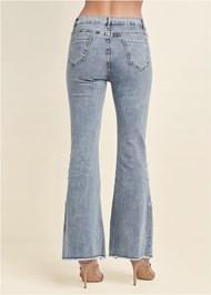 Back View Floral Applique Wide Leg Jeans
