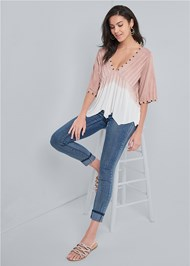 Full front view Pleated Ombre Grommet Top