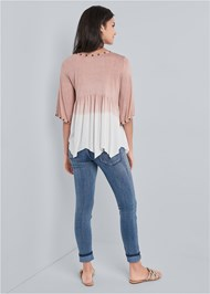 Full back view Pleated Ombre Grommet Top