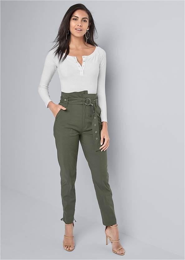 Belted High Waist Utility Pants,Off The Shoulder Top,High Heel Strappy Sandals,Hoop Detail Earrings