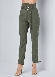 Waist down front view Belted High Waist Utility Pants