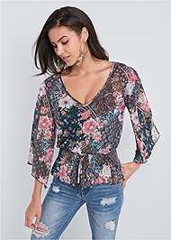 Cropped front view Paisley Mesh Top