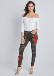 Alternate View Rose Embroidered Camo Skinny Jeans