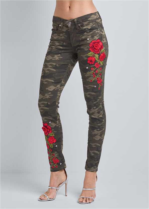 Rose Embroidered Camo Skinny Jeans,Easy Halter Top,High Heel Strappy Sandals,Ankle Strap Cork Heel,Beaded Earrings