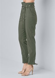 Waist down side view Belted High Waist Utility Pants