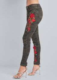 Waist down side view Rose Embroidered Camo Skinny Jeans