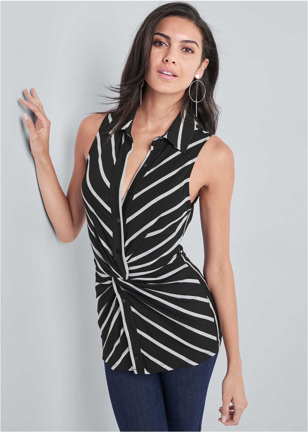 Striped Knot Twist Top,Mid Rise Slimming Stretch Jeggings,High Heel Strappy Sandals