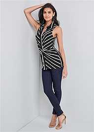 Full front view Striped Knot Twist Top