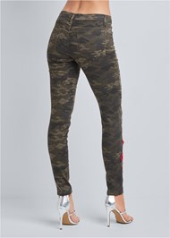 Waist down back view Rose Embroidered Camo Skinny Jeans