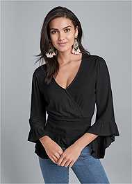 Cropped front view Smocked Waist Surplice Top