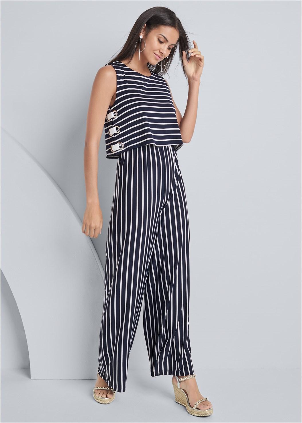 Striped Grommet Jumpsuit,Embellished Wedge