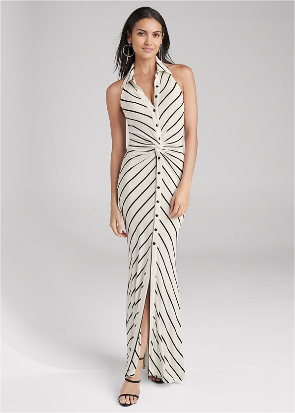 Collared Stripe Maxi Dress,High Heel Strappy Sandals,Hoop Detail Earrings