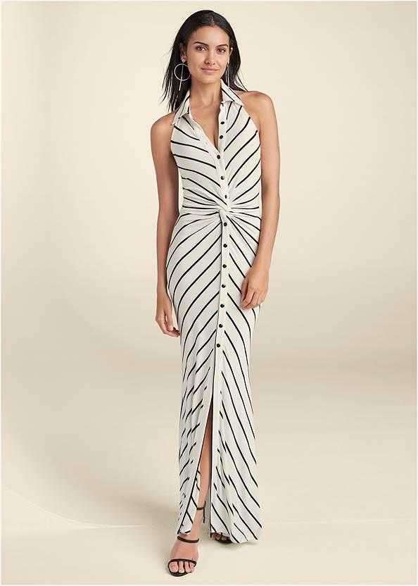 Collared Stripe Maxi Dress,High Heel Strappy Sandals,Hoop Detail Earrings