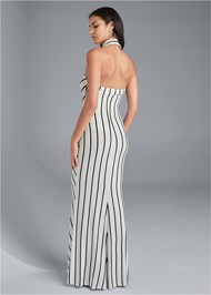 Back View Collared Stripe Maxi Dress