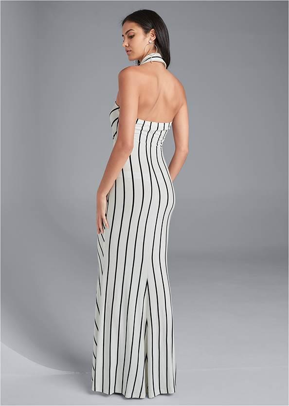 Back View Collared Stripe Maxi Dress