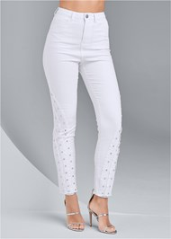 Waist down front view Jewel Studded Straight Leg Jeans