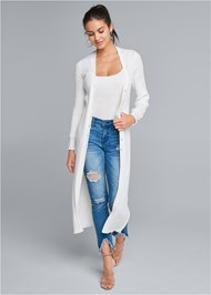 Front View Pointelle Blouse Sleeve Duster