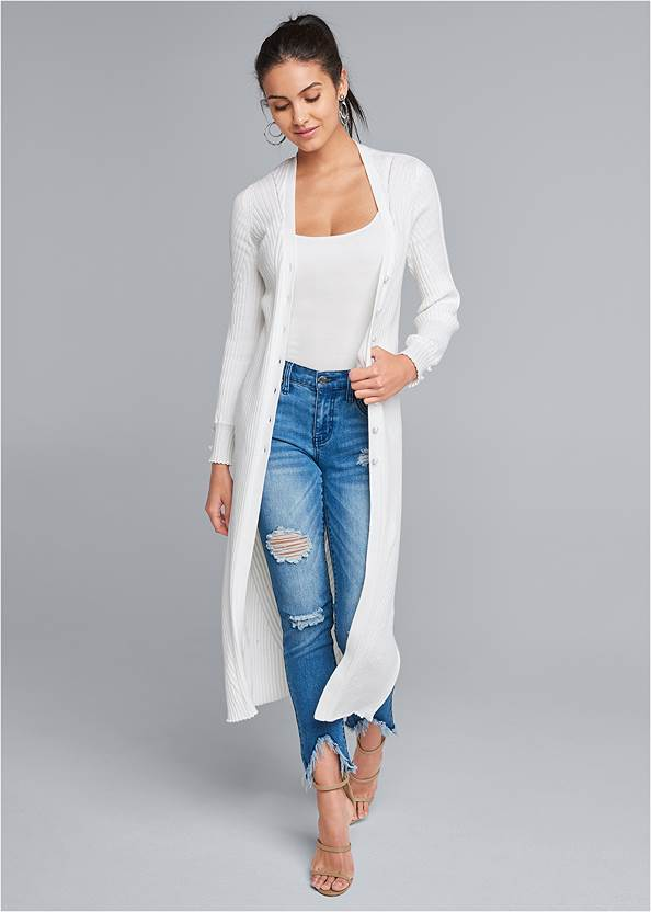 Pointelle Blouse Sleeve Duster,Basic Cami Two Pack,High Heel Strappy Sandals
