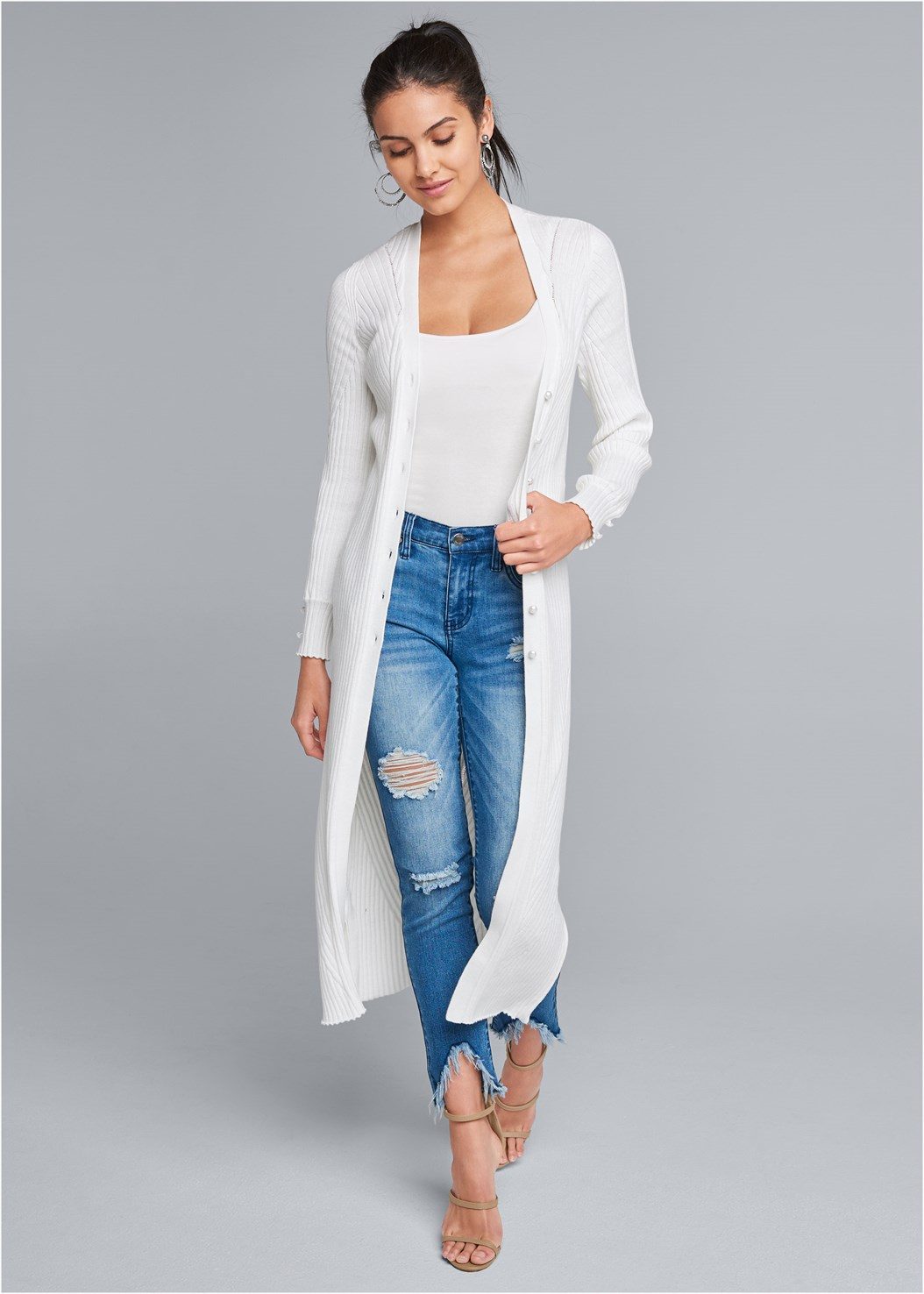 Pointelle Blouse Sleeve Duster,Basic Cami Two Pack,Triangle Hem Jeans,High Heel Strappy Sandals,Beaded Fringe Medallion Earrings,Long Chain Pendant Necklace,Studded Satchel Crossbody