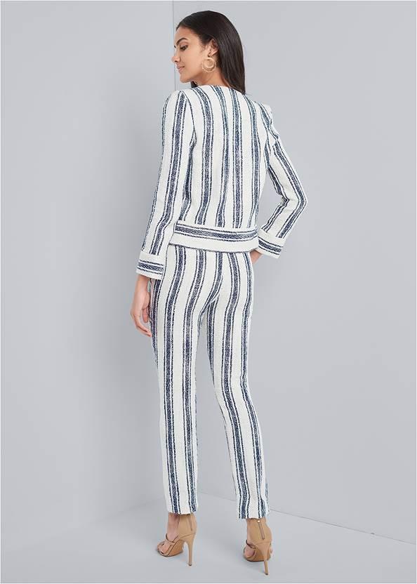 Back View Striped Tweed Pants Set