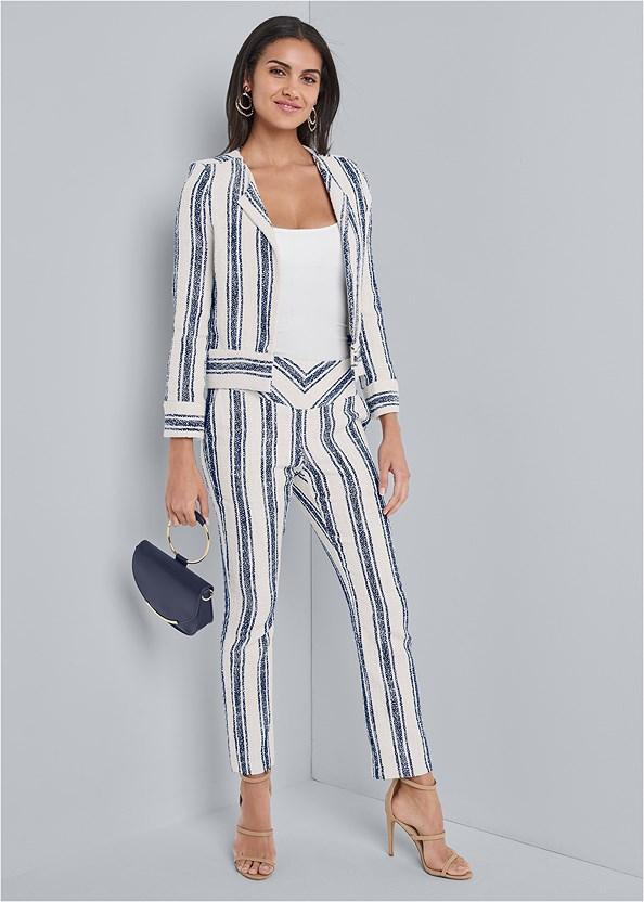 Striped Tweed Pants Set,Basic Cami Two Pack,High Heel Strappy Sandals,Beaded Hoop Earrings,Circle Detail Handbag