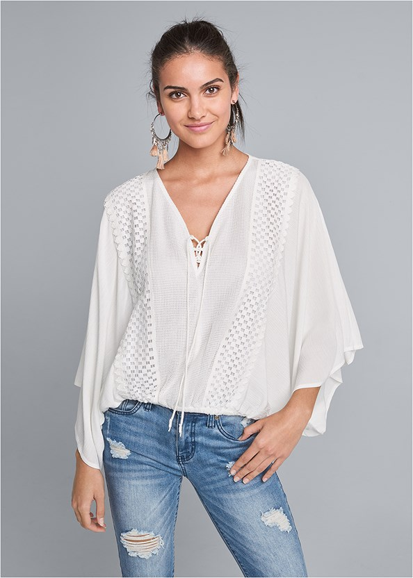 Batwing Crochet Top,Triangle Hem Jeans,Tassel Detail Hoop Earrings