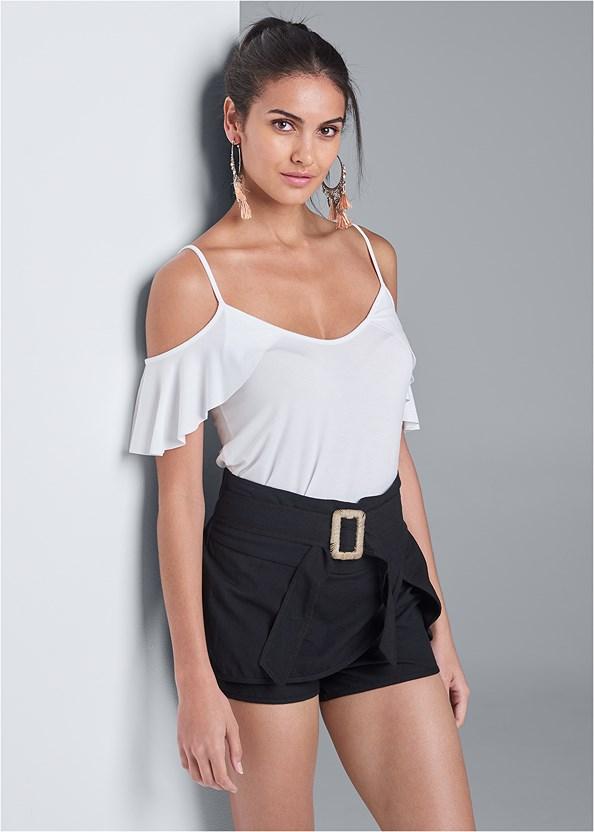 Belted Linen Shorts,Ruffle Cold Shoulder Top,Wrap Around Wedges,Tassel Detail Hoop Earrings