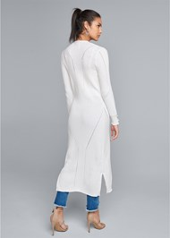 Back View Pointelle Blouse Sleeve Duster