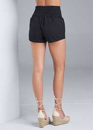 Back View Belted Linen Shorts