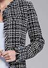 Detail front view Open Front Tweed Fringe Jacket