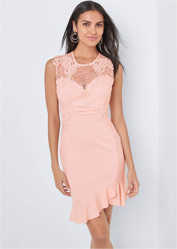 Lace Detail Dress,High Heel Strappy Sandals