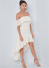 Front View Eyelet High Low Dress
