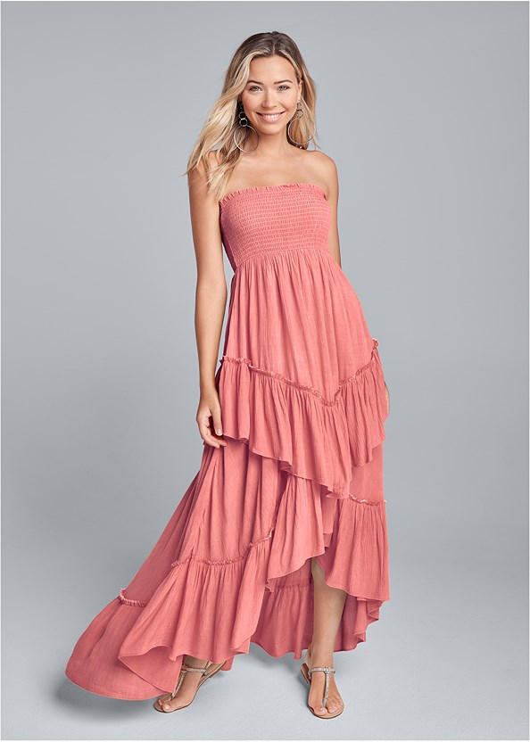Tiered Smocked Maxi Dress,Rhinestone Thong Sandal