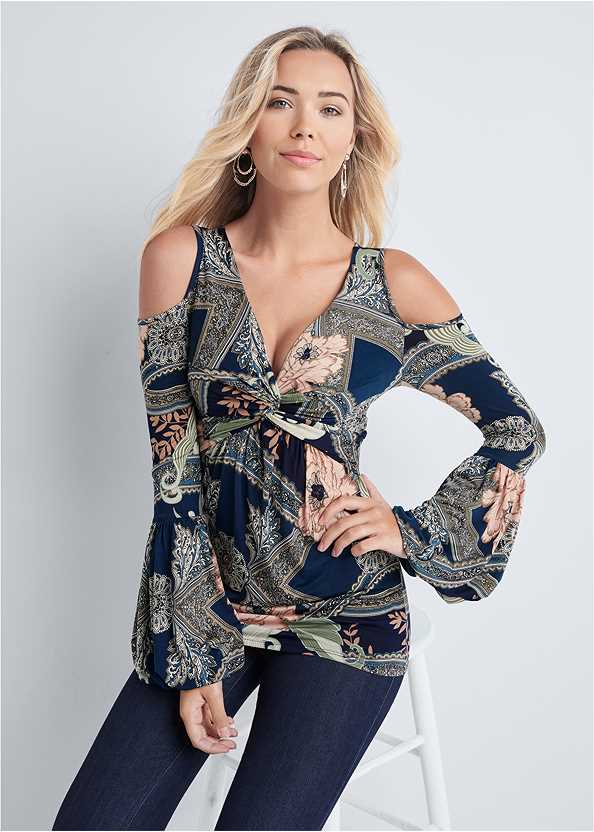 Paisley Cold Shoulder Top,Mid Rise Slimming Stretch Jeggings,High Heel Strappy Sandals,Beaded Hoop Earrings