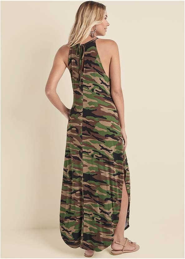 Back View Tie Neck Maxi Dress