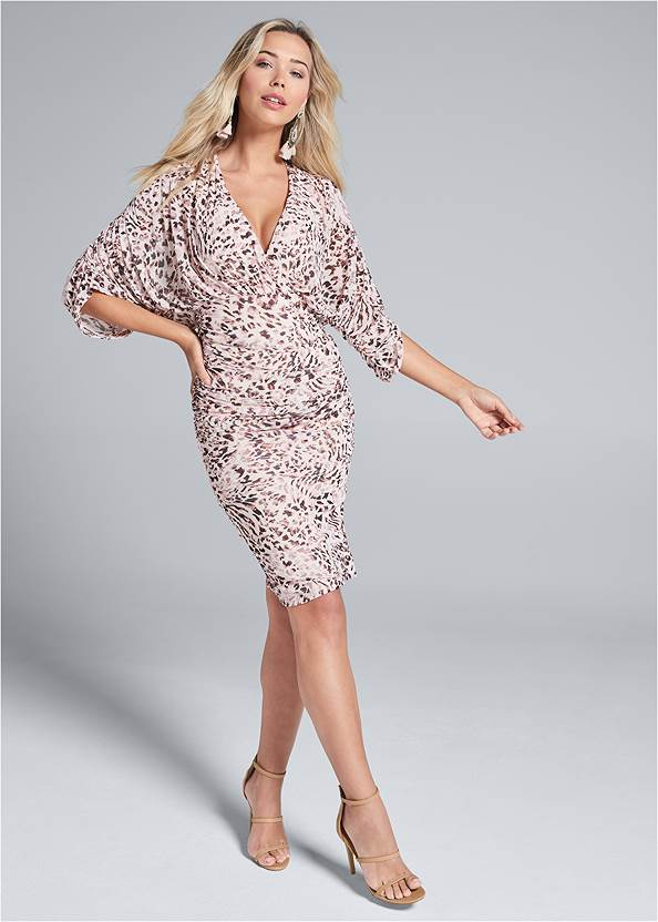 Full front view Mesh Ruched Animal Dress