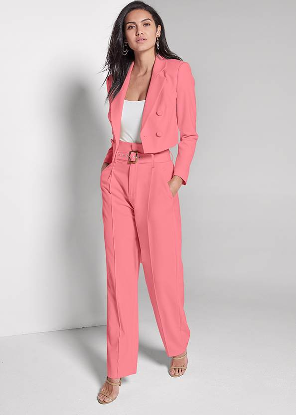 Front View Belted Suiting Set