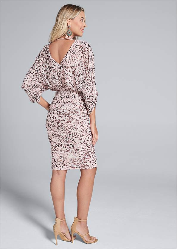 Full back view Mesh Ruched Animal Dress
