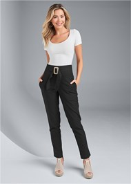 Front View Belted Linen Pants