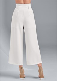 Back View Belted High Waist Culotte Length Pants